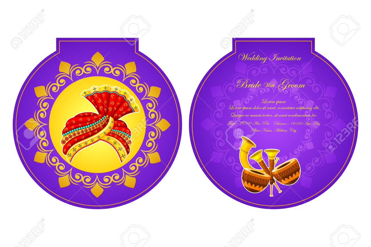 Vector illustration of indian wedding invitation card royalty free vector illustration of indian wedding invitation card stopboris Choice Image