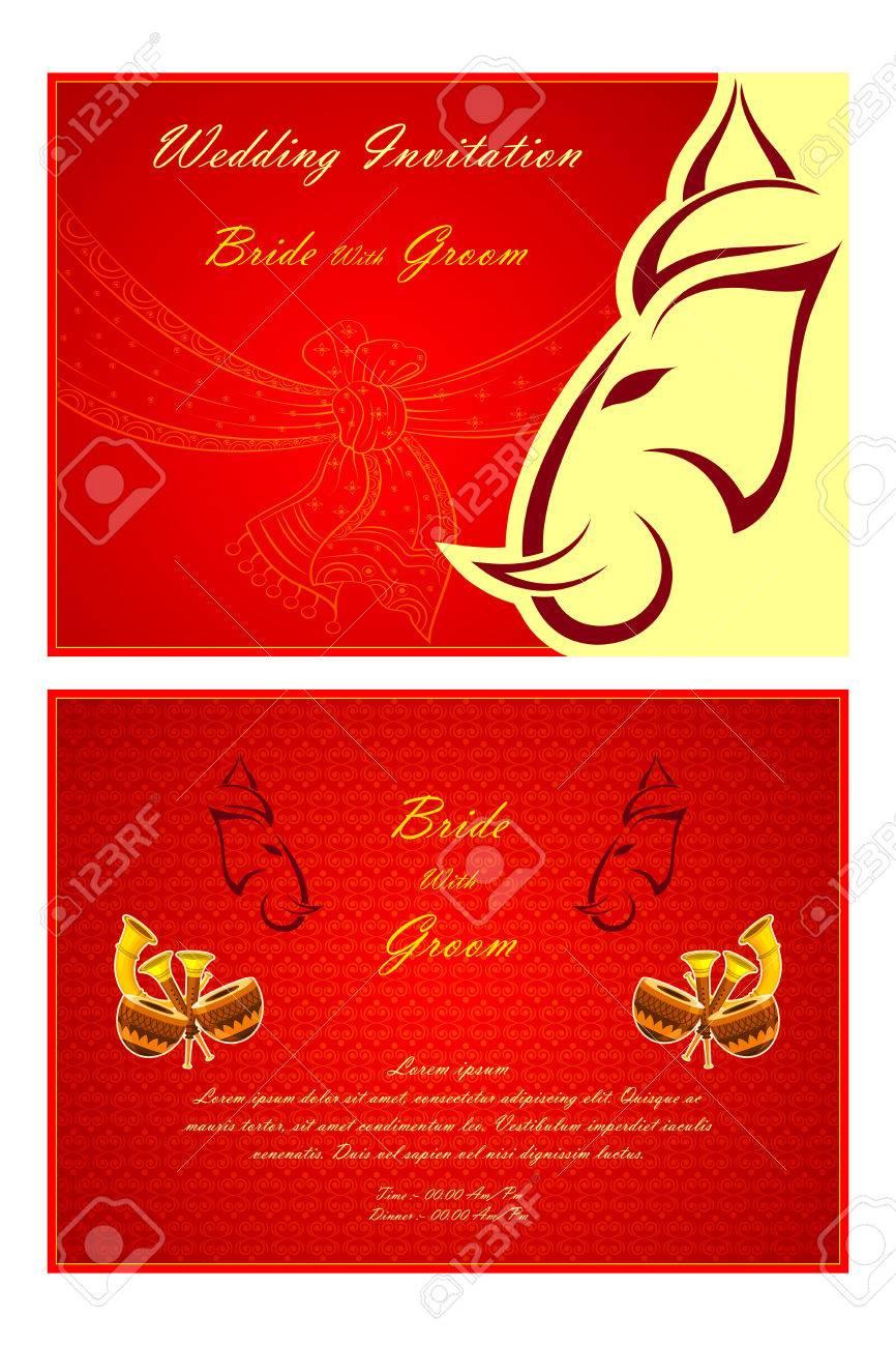 Vector Illustration Of Indian Wedding Invitation Card Royalty Free ...