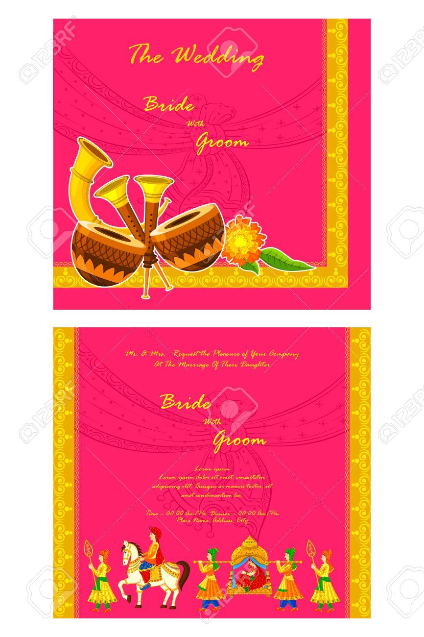 vector illustration of Indian wedding invitation card - 35122089
