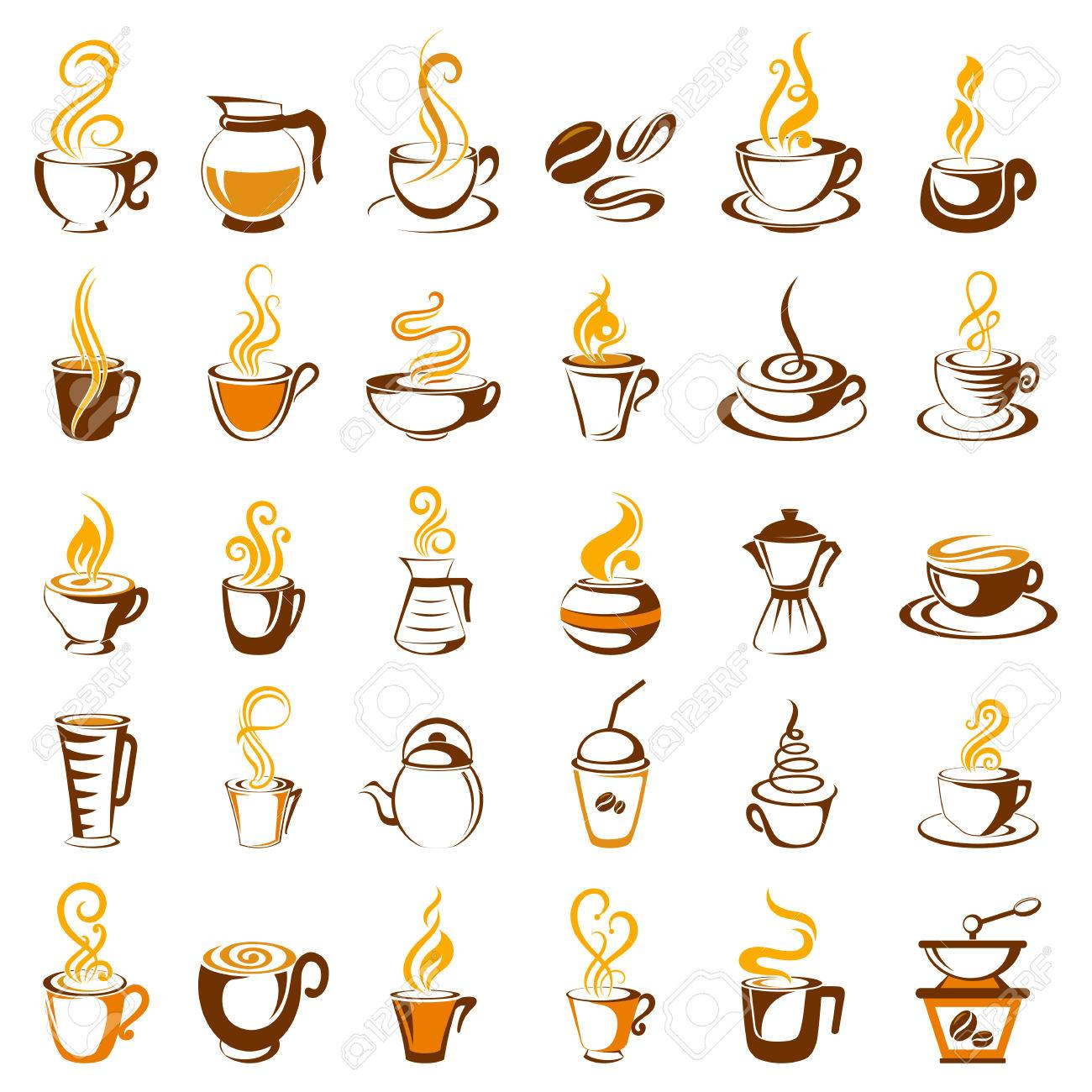 illustration of collection of coffee icon - 35237306