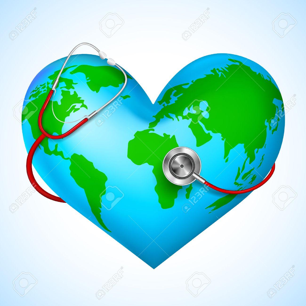 Stethoscope around hearth shaped world - 38467547