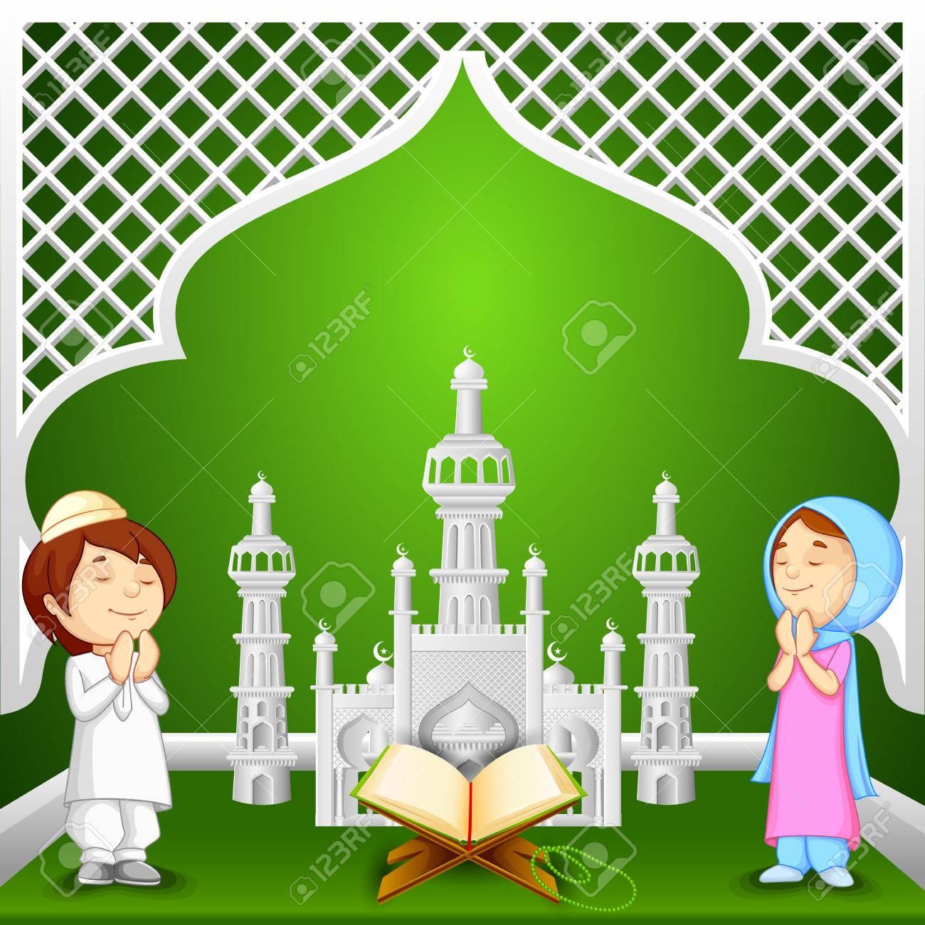 vector illustration of muslim kids offering namaaz for Eid-ul-fitr (Feast of Breaking the Fast) - 42064520