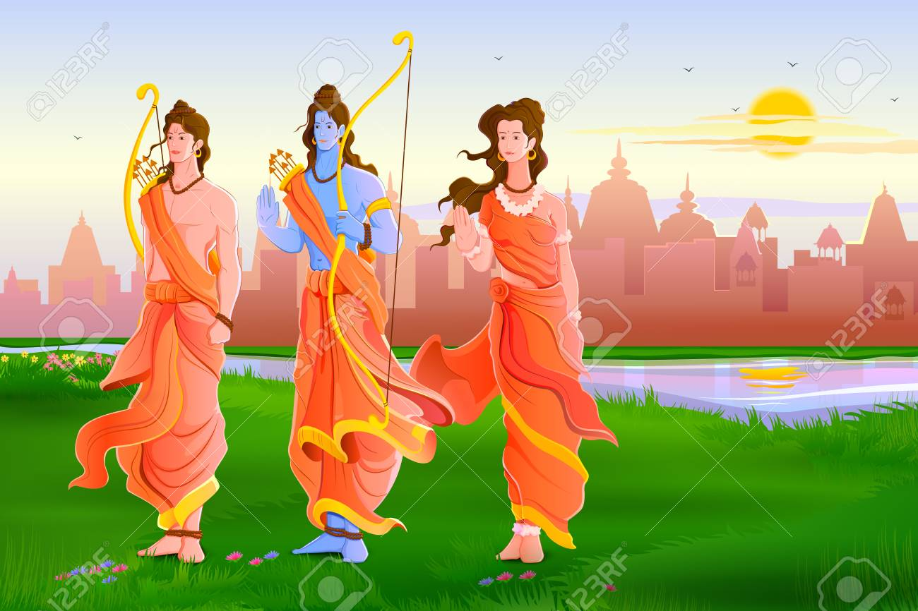 Birth of Lord Rama - Happy Ram Navami Vectors