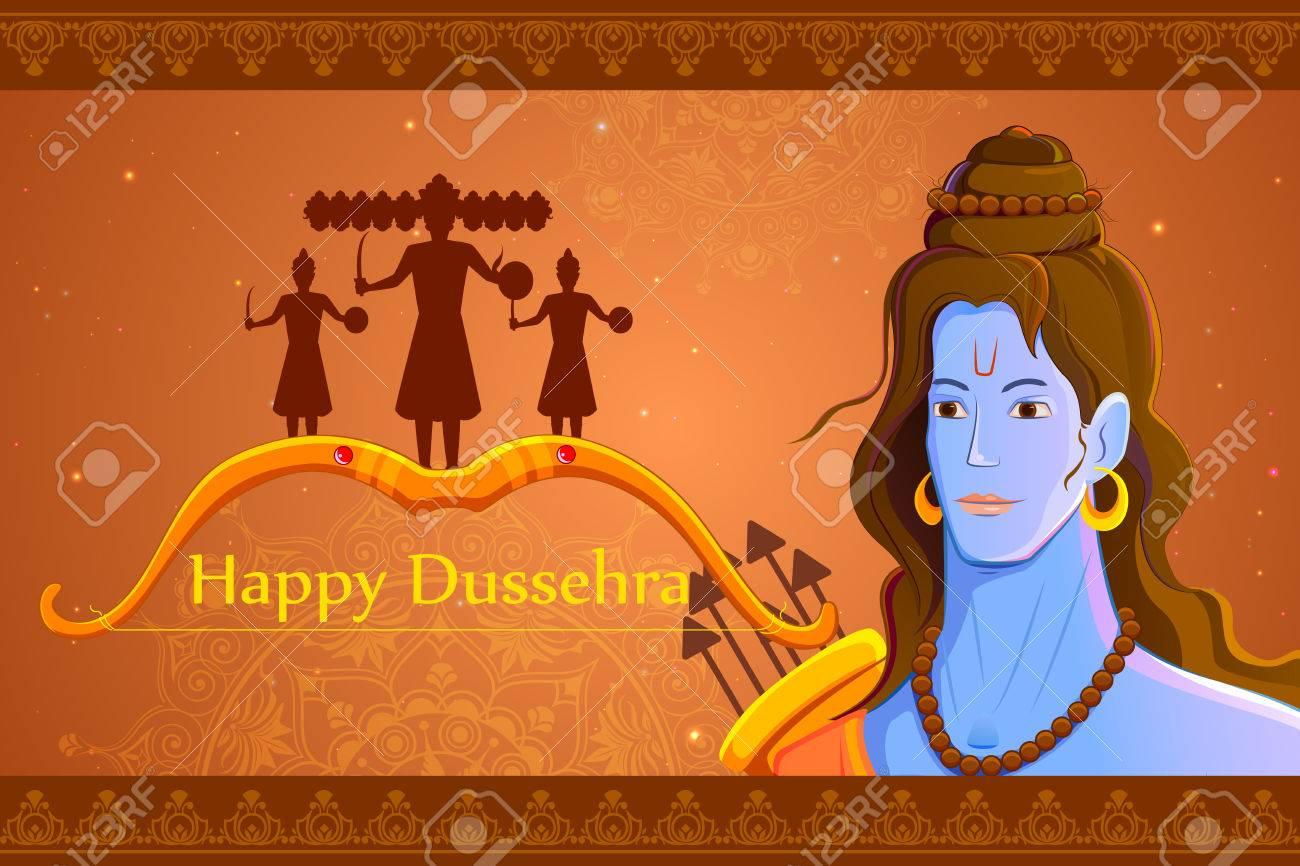 vector illustration of Rama killing Ravana in Happy Dussehra - 45336692