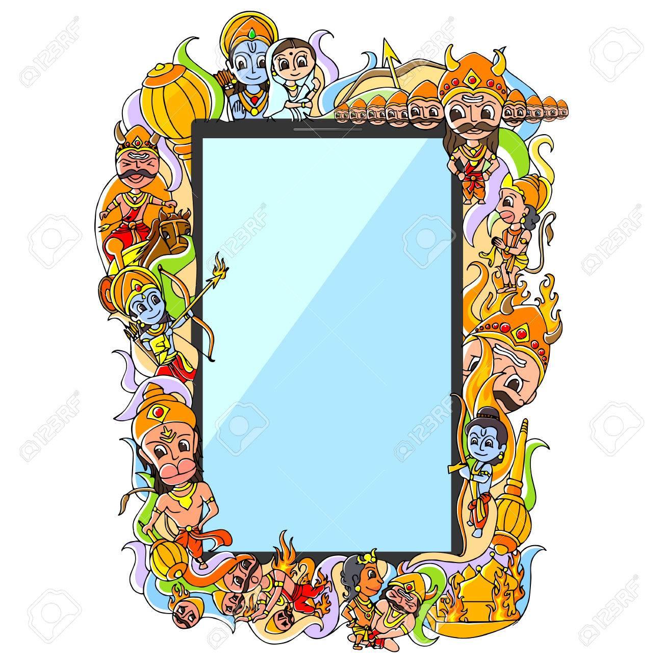 vector illustration of Happy Dussehra doodle drawing for mobile application - 45336693