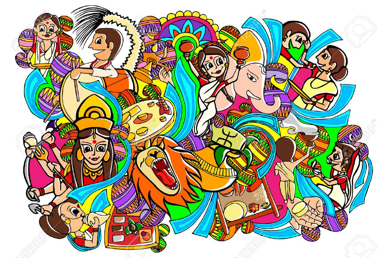 vector illustration of Happy Durga Puja doodle drawing - 45336695