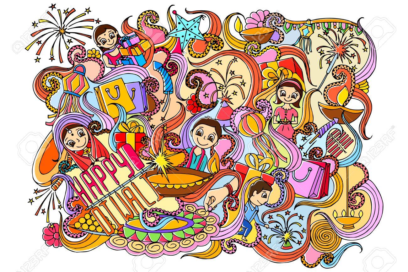 illustration of Happy Diwali doddle drawing - 46647751