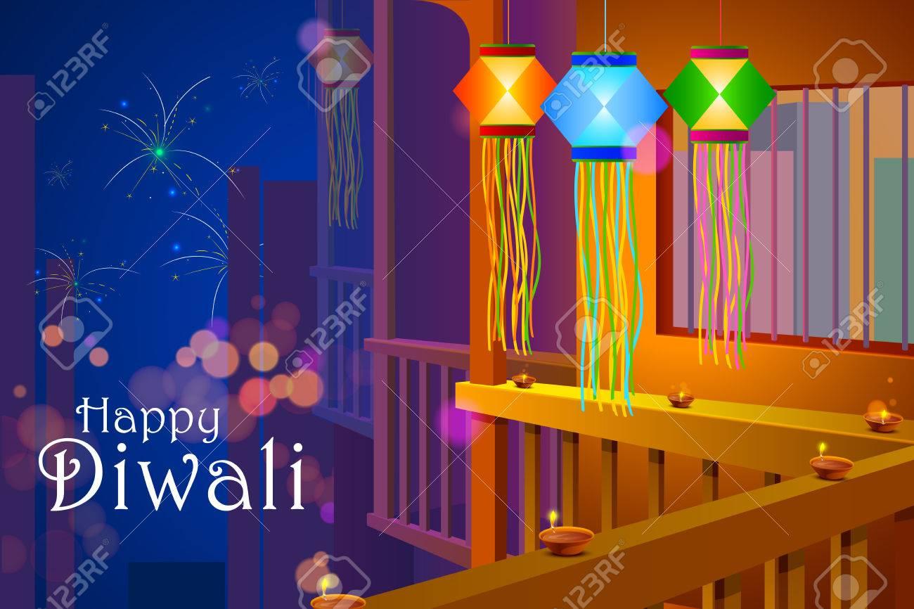 illustration of colorful Diwali hanging lantern with firework backdrop - 46647753