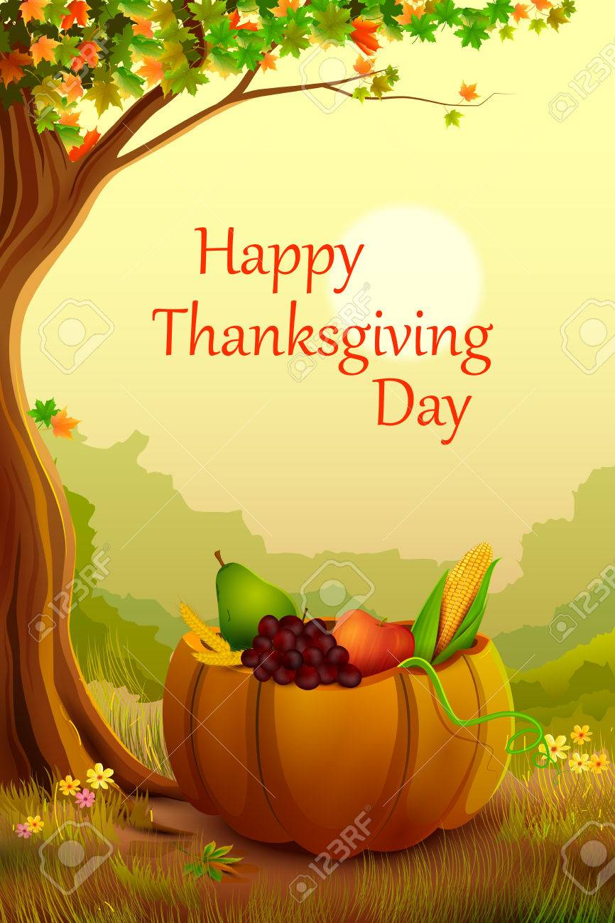 Vector Illustration Of Happy Thanksgiving Wallpaper Background Royalty Free Cliparts Vectors And Stock Illustration Image 48614116