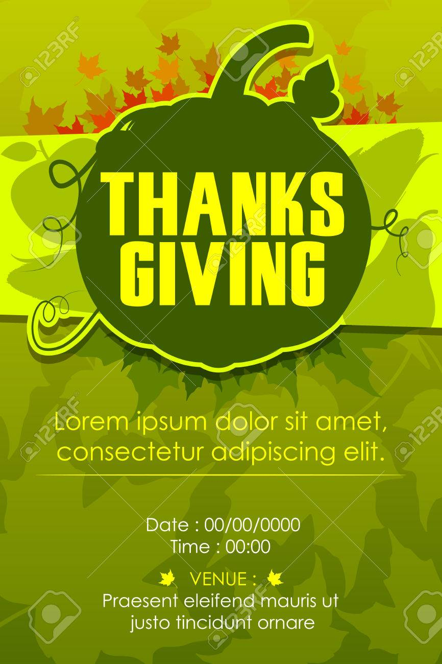 Vector Illustration Of Happy Thanksgiving Party Invitation ...