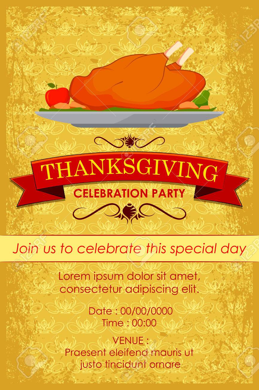 vector illustration of happy thanksgiving party invitation