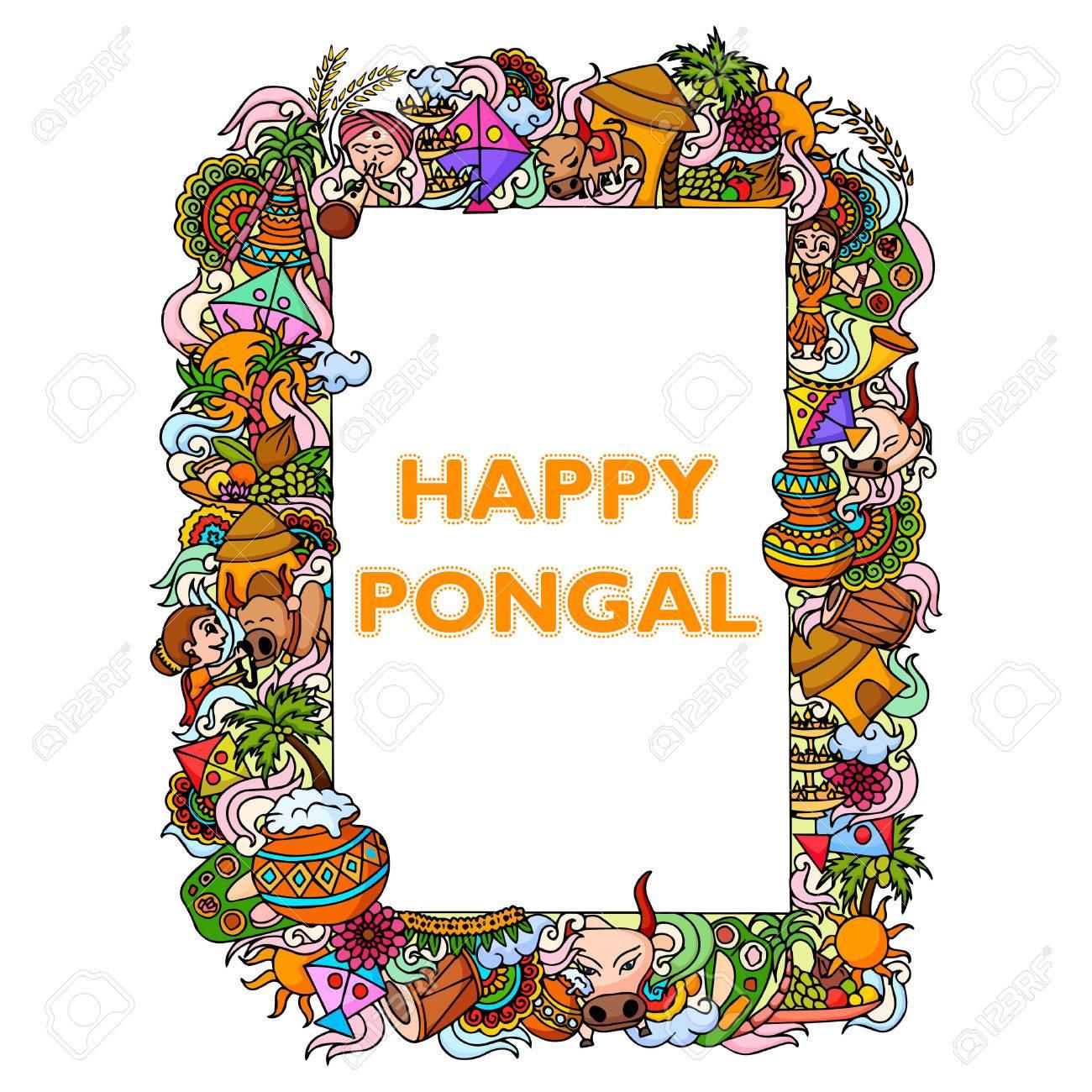 vector illustration of Happy Pongal celebration background - 50263807