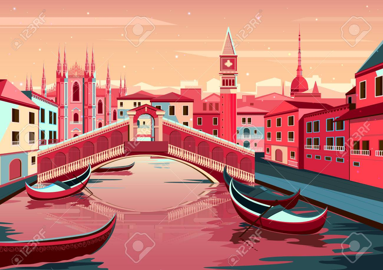 vector illustration of cityscape of Venice, Italy - 52128358