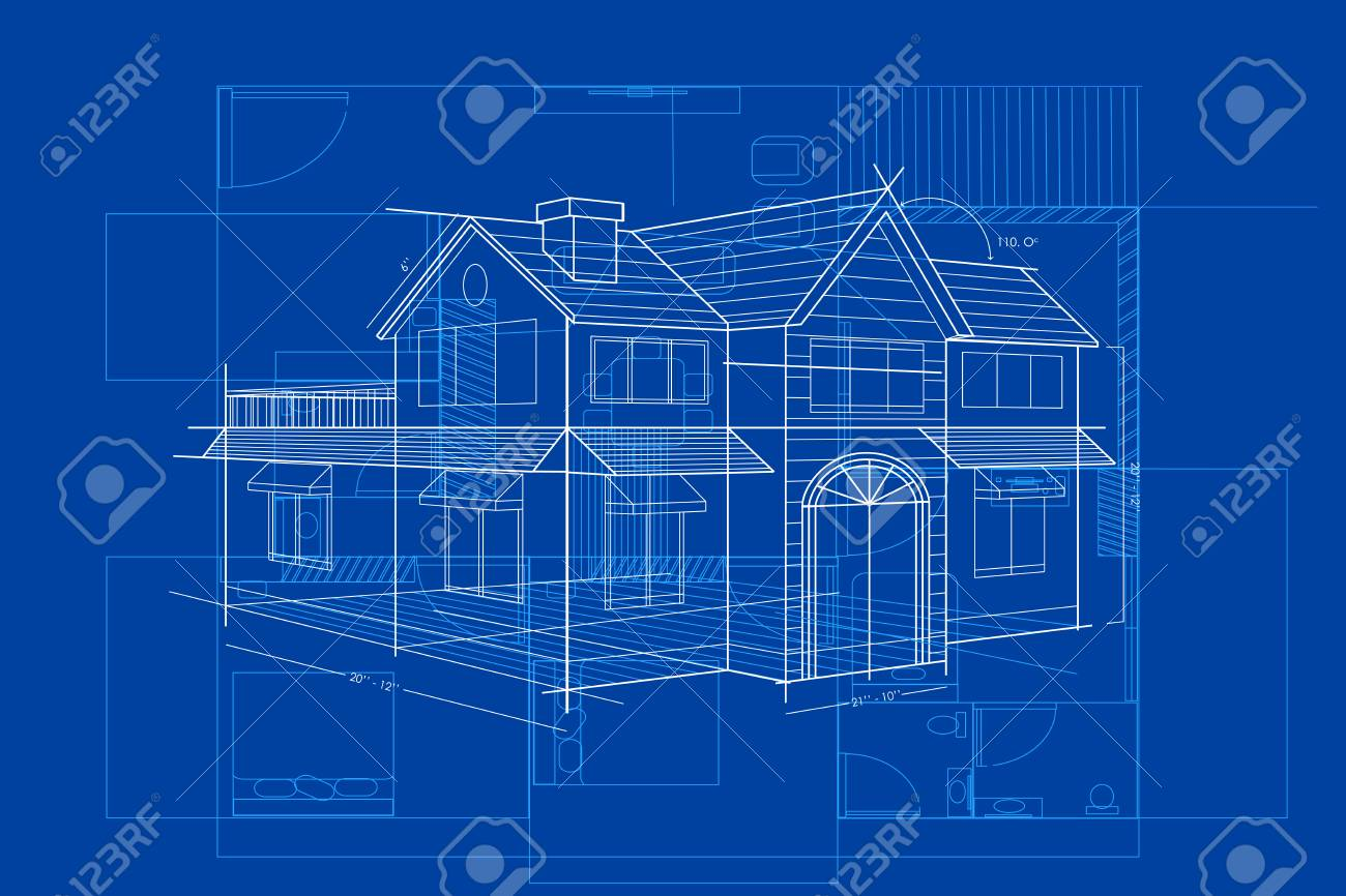 Easy to edit vector illustration of blueprint of building royalty easy to edit vector illustration of blueprint of building stock vector 52128450 malvernweather Image collections