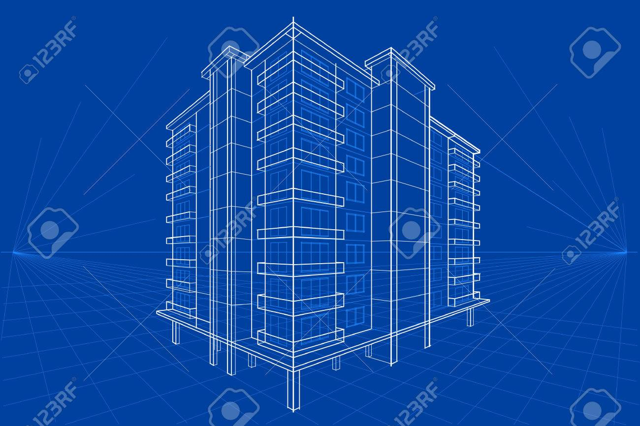 easy to edit vector illustration of blueprint of building - 52128467