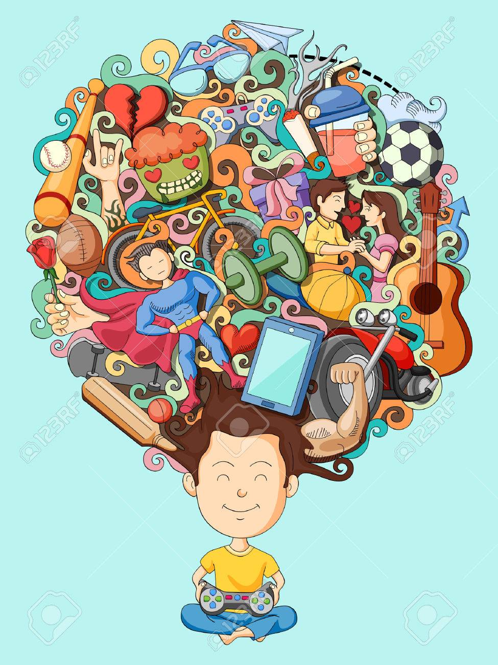 vector illustration of dream and thought of teenage boy - 55751731