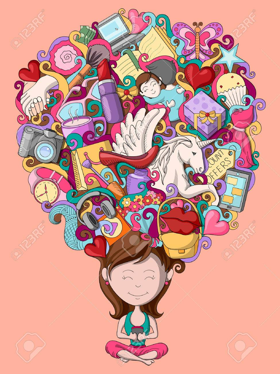 vector illustration of dream and thought of teenage girl - 55751732