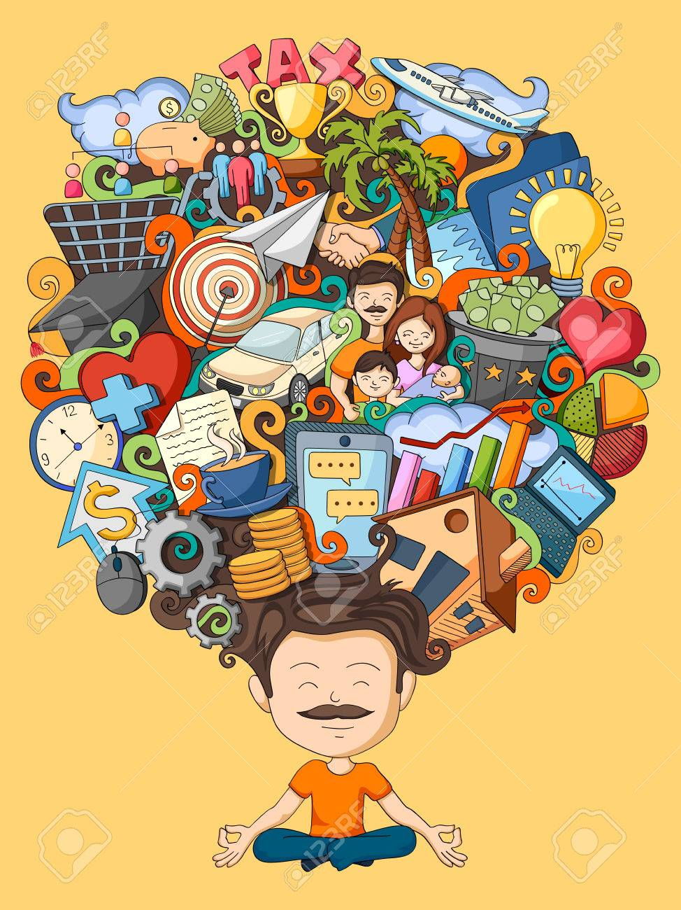 vector illustration of dream and thought of young man - 55751872