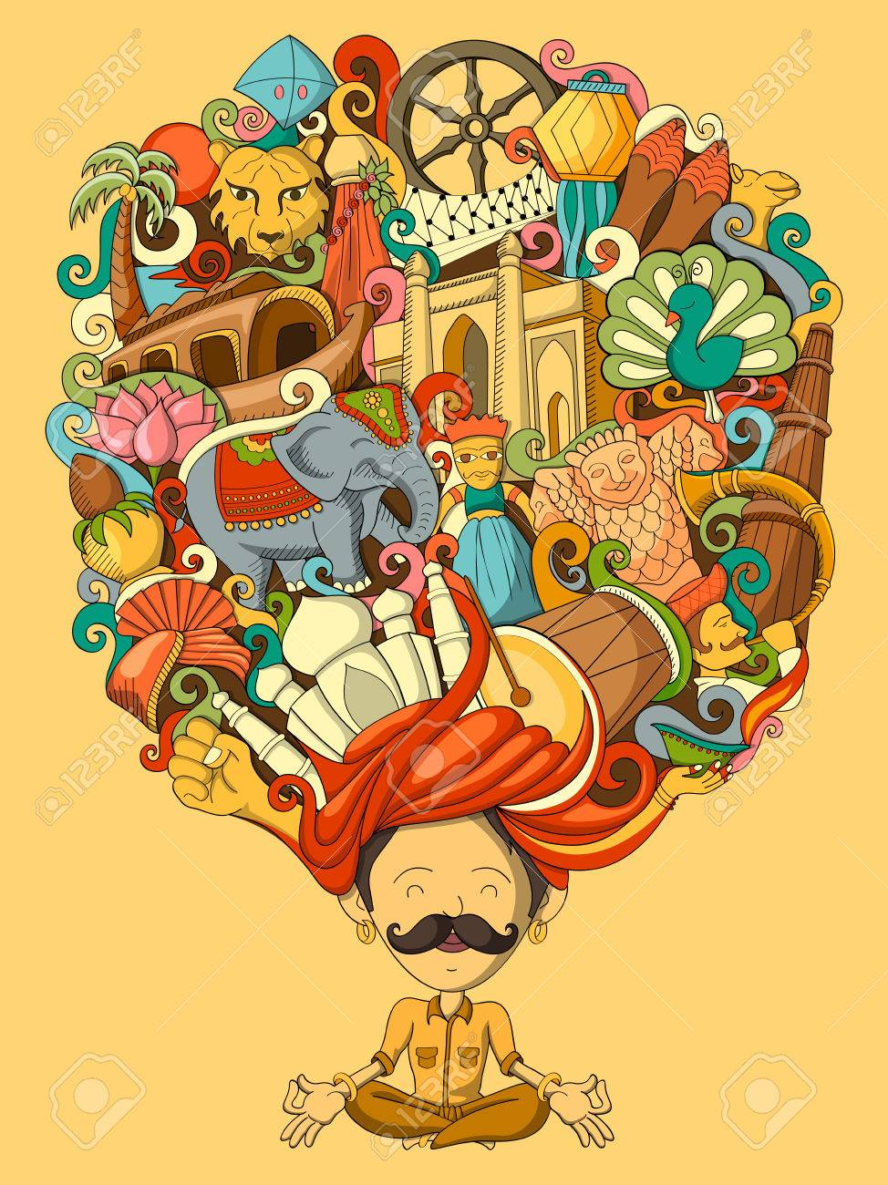 vector illustration of dream and thought of Indian man - 55751874