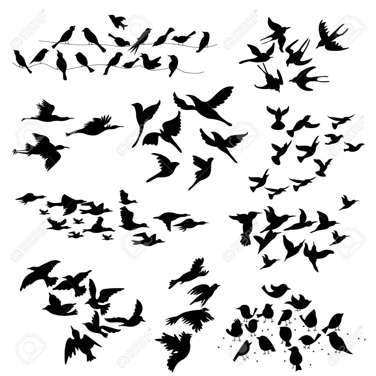 飛ぶ鳥のシルエットのイラスト
