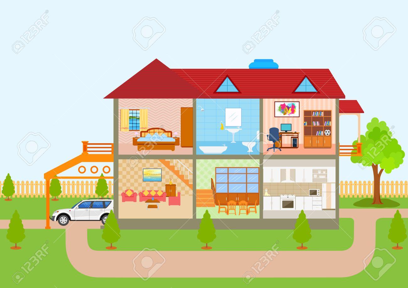 Darstellung Von Haus In Schnittansicht Mit Detaillierten Interieur Und Möbel  Standard Bild   56479960