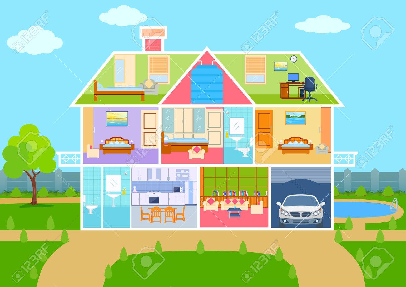 illustration of House in cut view with detailed interior and furniture - 56479962