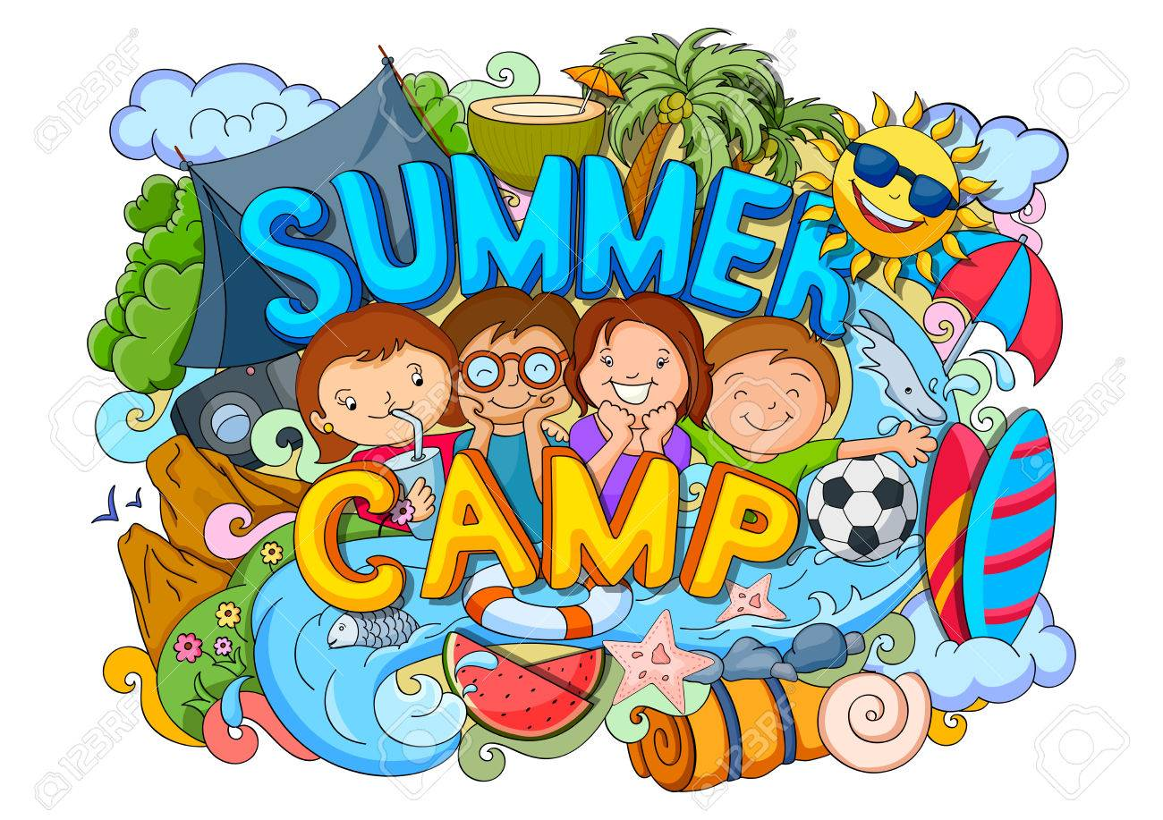 vector illustration of doodle of kids Summer Camp poster - 58409758