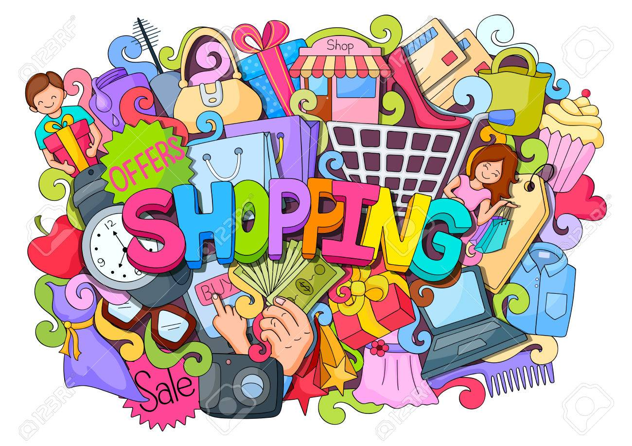 vector illustration of doodle on Shopping concept poster with different element - 58409813