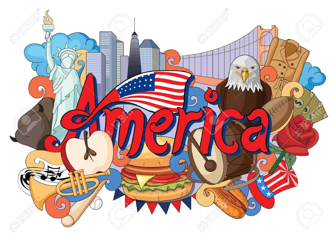 ベクトル アーキテクチャとアメリカ文化を示す落書きのイラストの