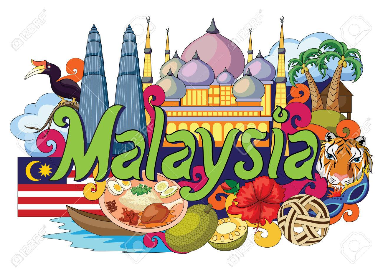 vector illustration of Doodle showing Architecture and Culture of Malaysia - 58409833