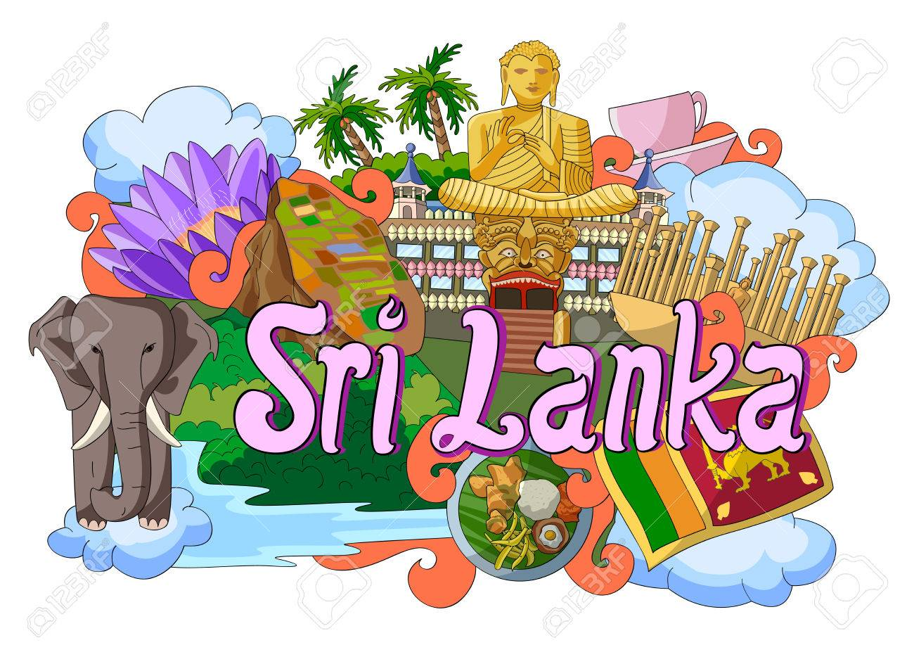 vector illustration of Doodle showing Architecture and Culture of Sri Lanka - 58409840