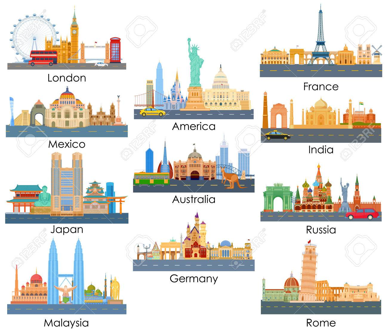 vector illustration of skyline of famous building of important city around the world - 58409860