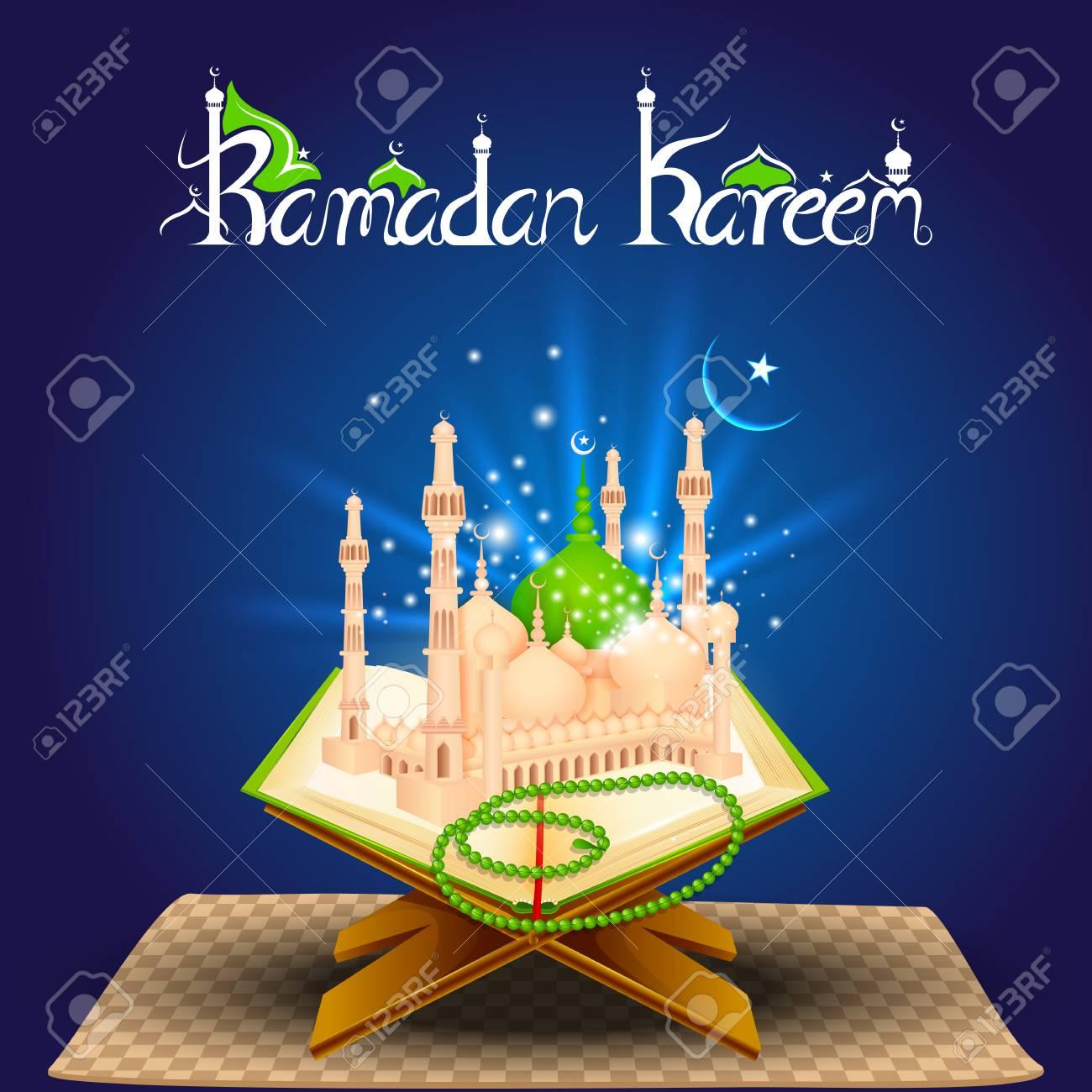 Vector Illustration Of Quran On Eid Mubarak Royalty Free Cliparts