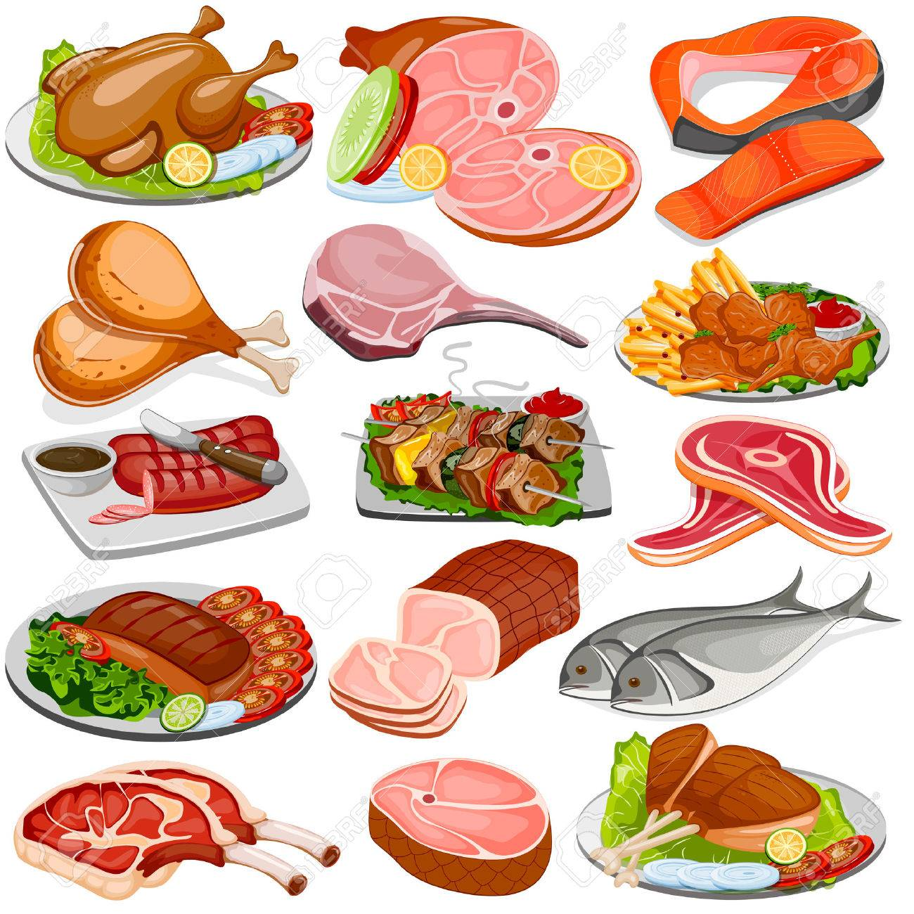 vector illustration of Poultry and Meat Product Food Collection - 60780935