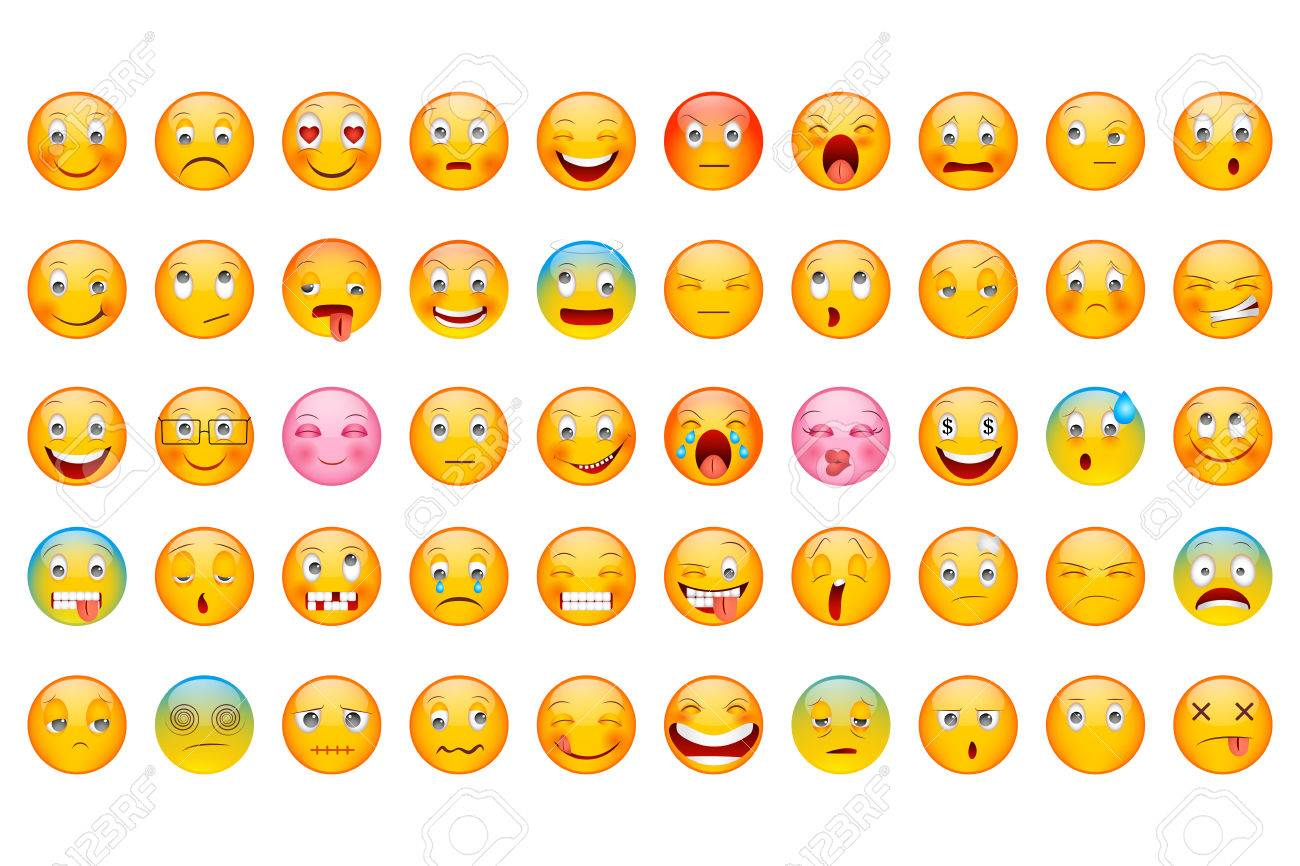 vector illustration of Glossy Emoticon Collection with different expression smiley - 60780938