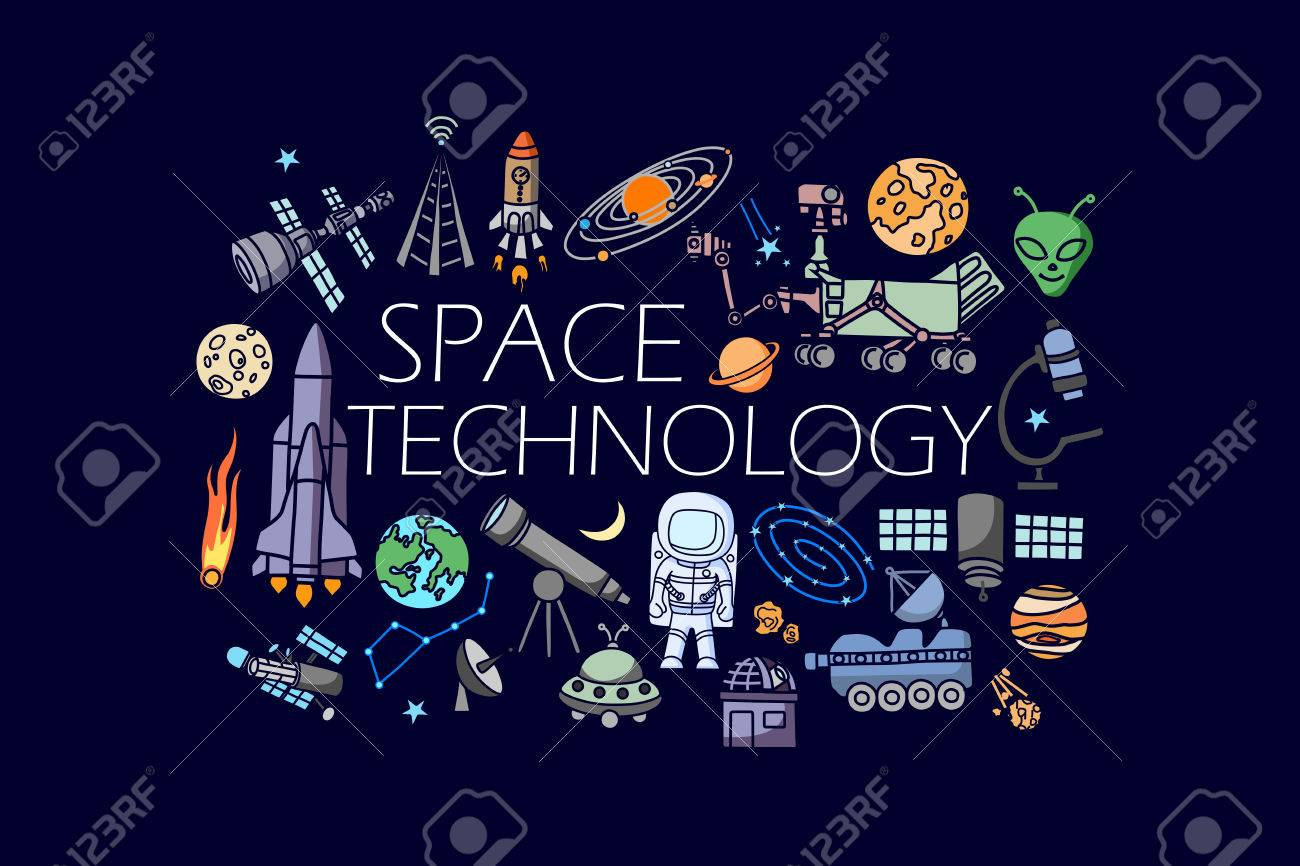 vector illustration of flat line art design of Science and space technology concept - 60780977