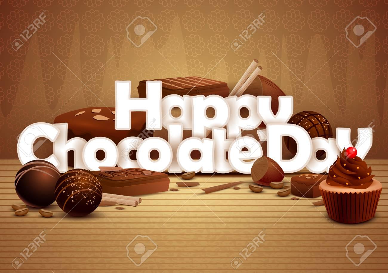ハッピー チョコレートの日の壁紙の背景のベクトル イラストのイラスト