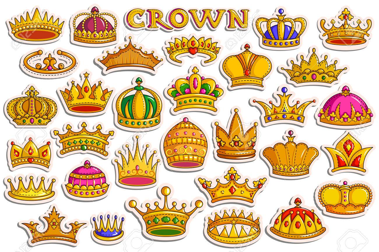 Sticker Collection For Ornamental Gold Heraldic Crown For King