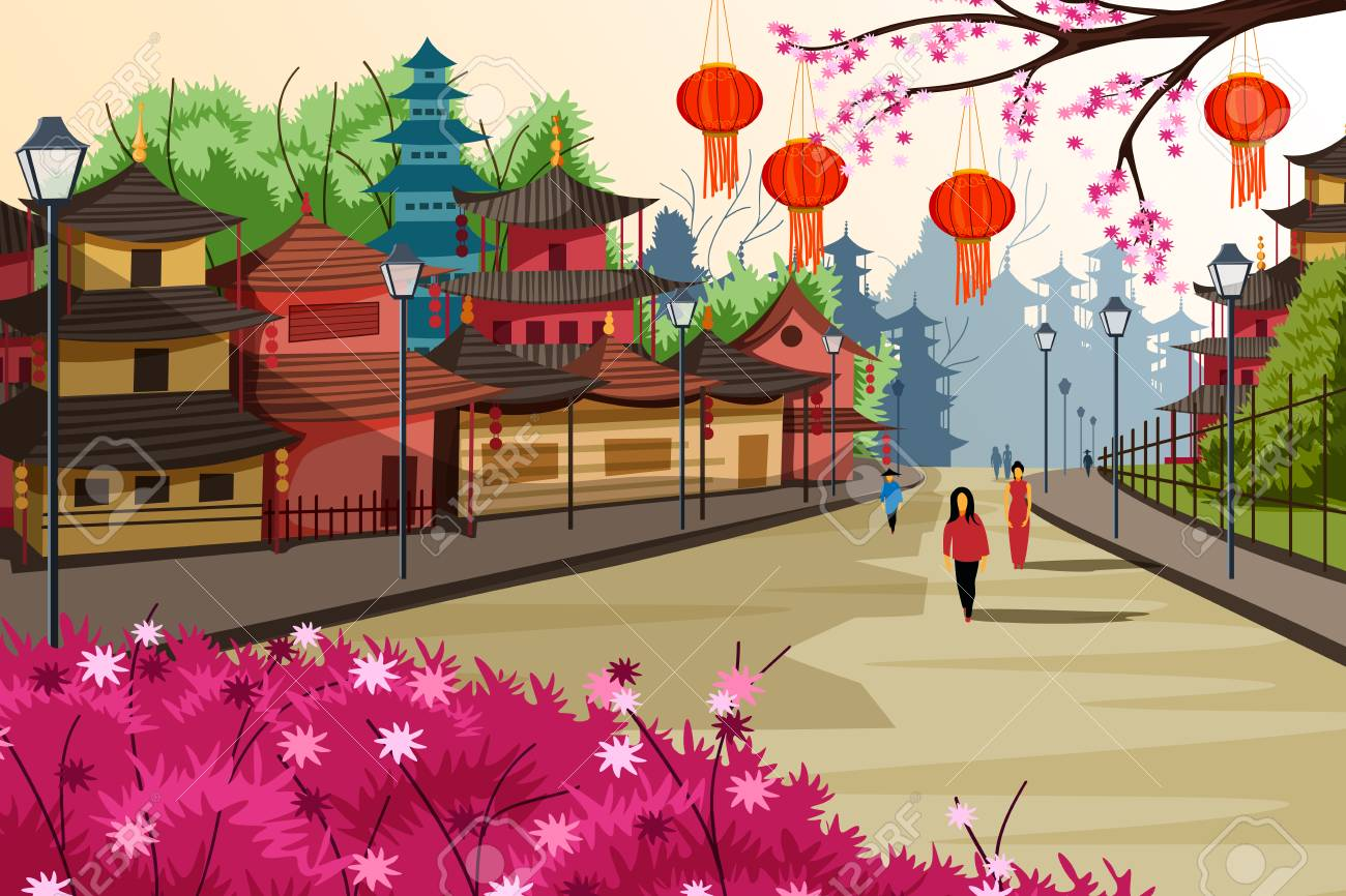 Hanging lantern decorated city of China - 77031264