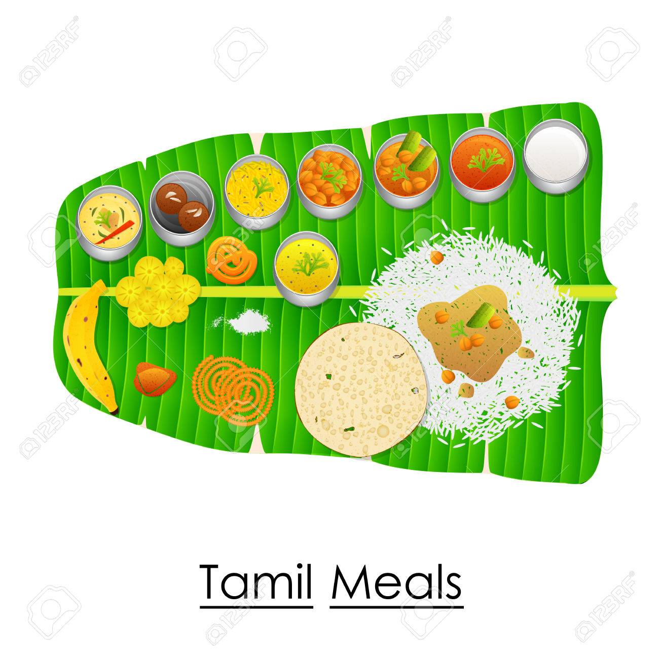 Delicious Tamil Meal On Banana Leaf Stock Vector