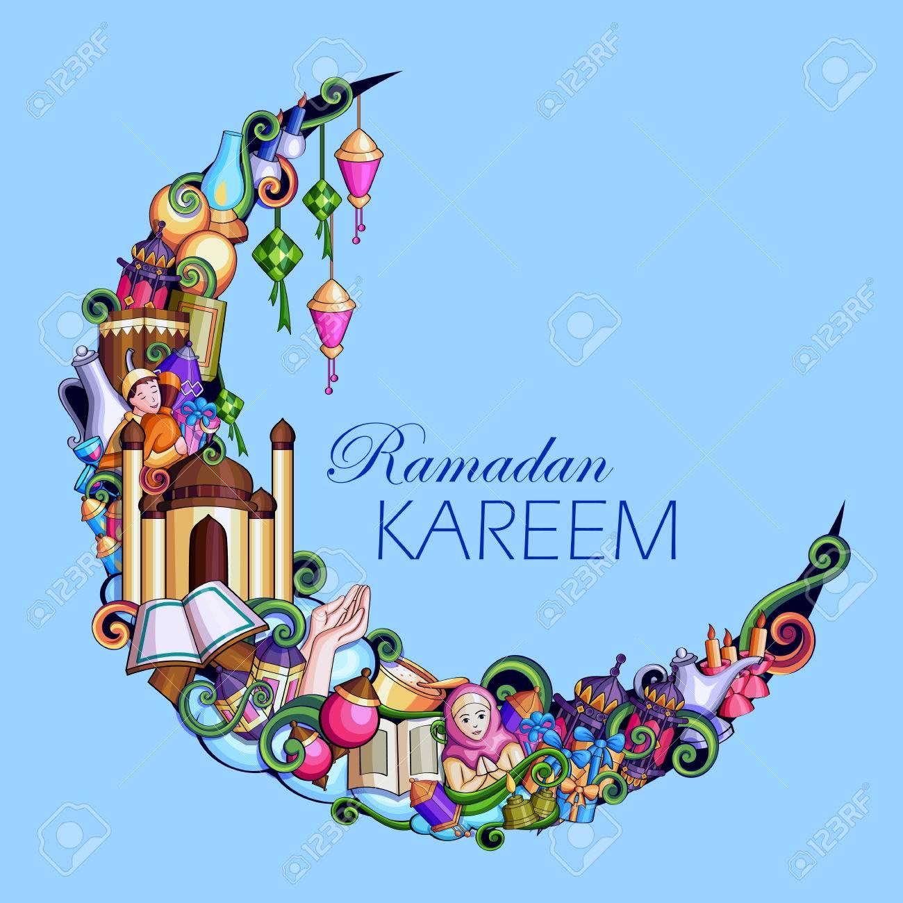 Ramadan Kareem Blessing for Eid background. - 79409897