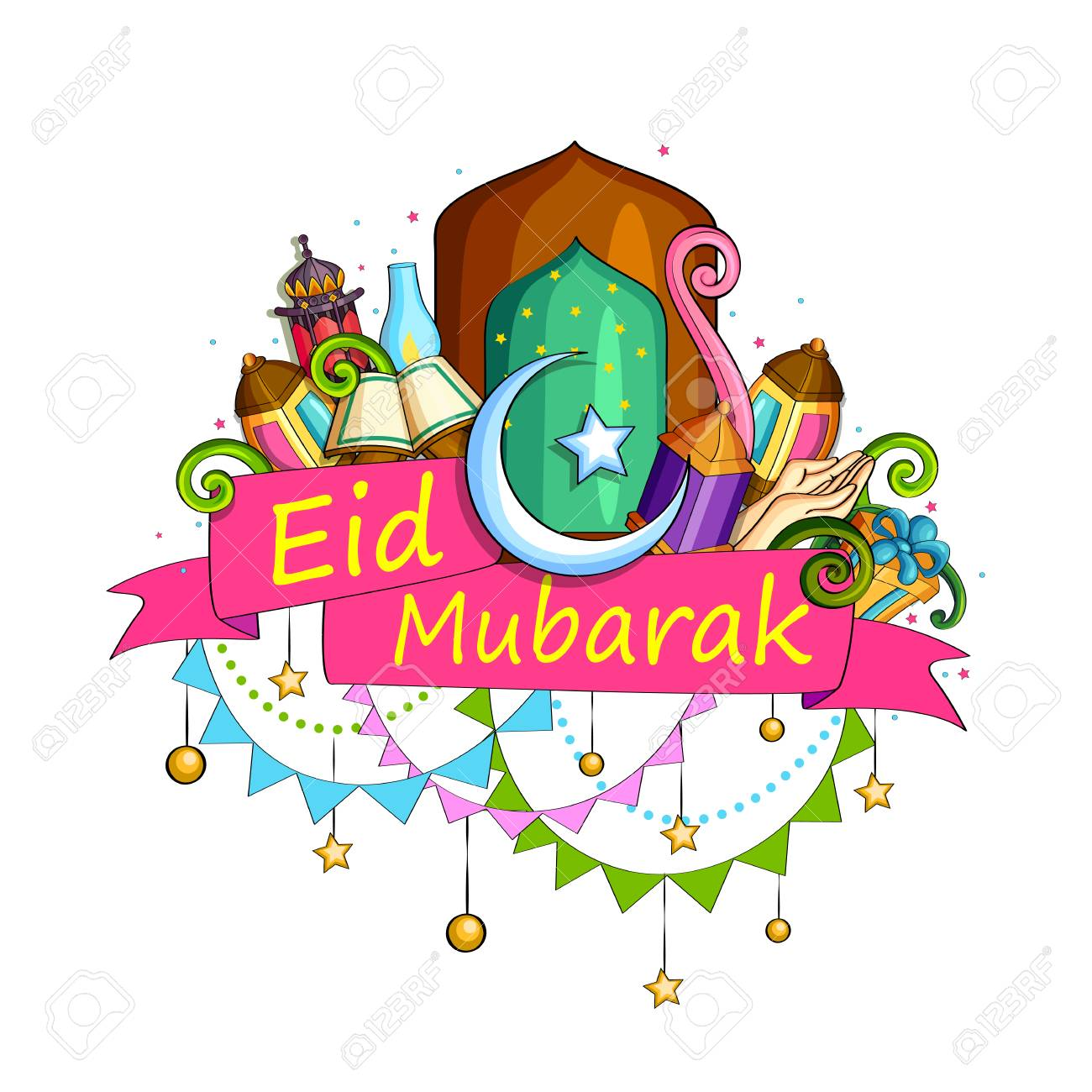 Eid Mubarak Blessing For Eid Background Royalty Free Cliparts Vectors And Stock Illustration Image 79410067