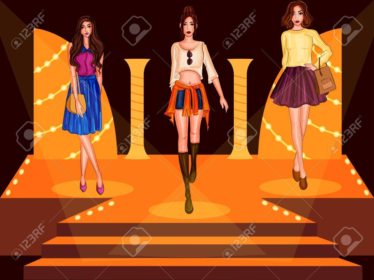 beautiful modern stylish woman model on ramp royalty free cliparts vectors and stock illustration image 83158125 beautiful modern stylish woman model on ramp