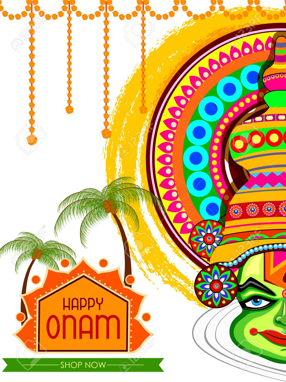 Happy Onam Big Shopping Sale Advertisement Background Stock Vector