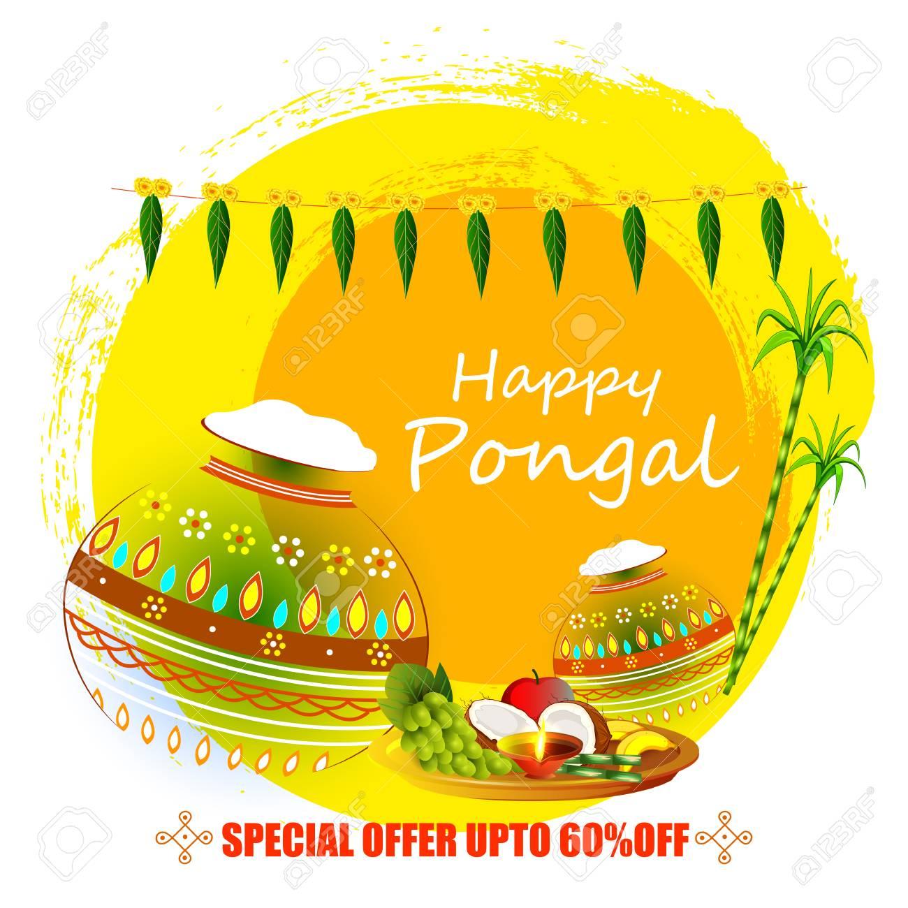 vector illustration of Happy Pongal holiday festival celebration background - 90150073
