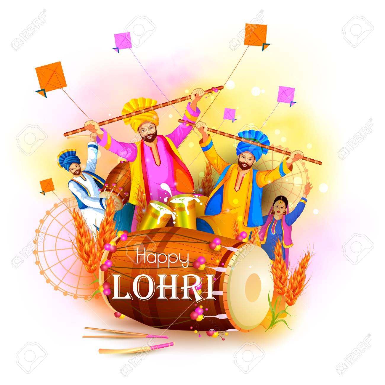 Happy Lohri holiday festival of Punjab India Vector illustration. - 90824889