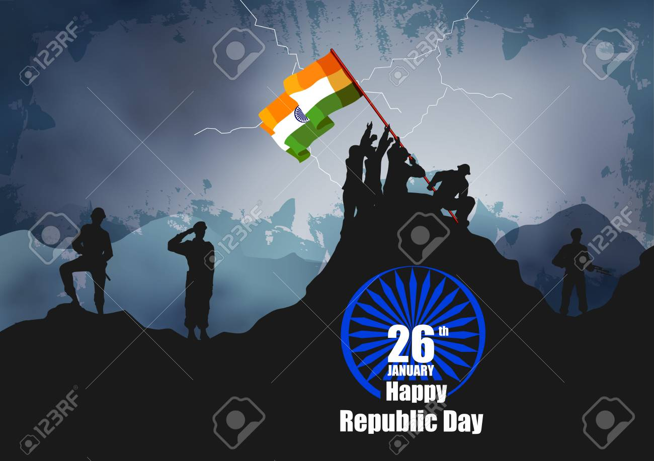 vector illustration of Indian army with flag for Happy Republic Day of India - 92659367