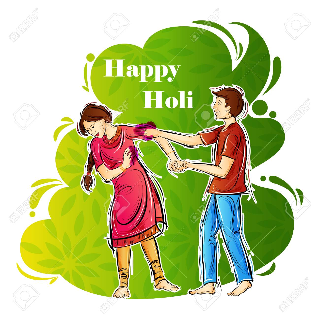 Indian People Playing India Festival Of Color Happy Holi