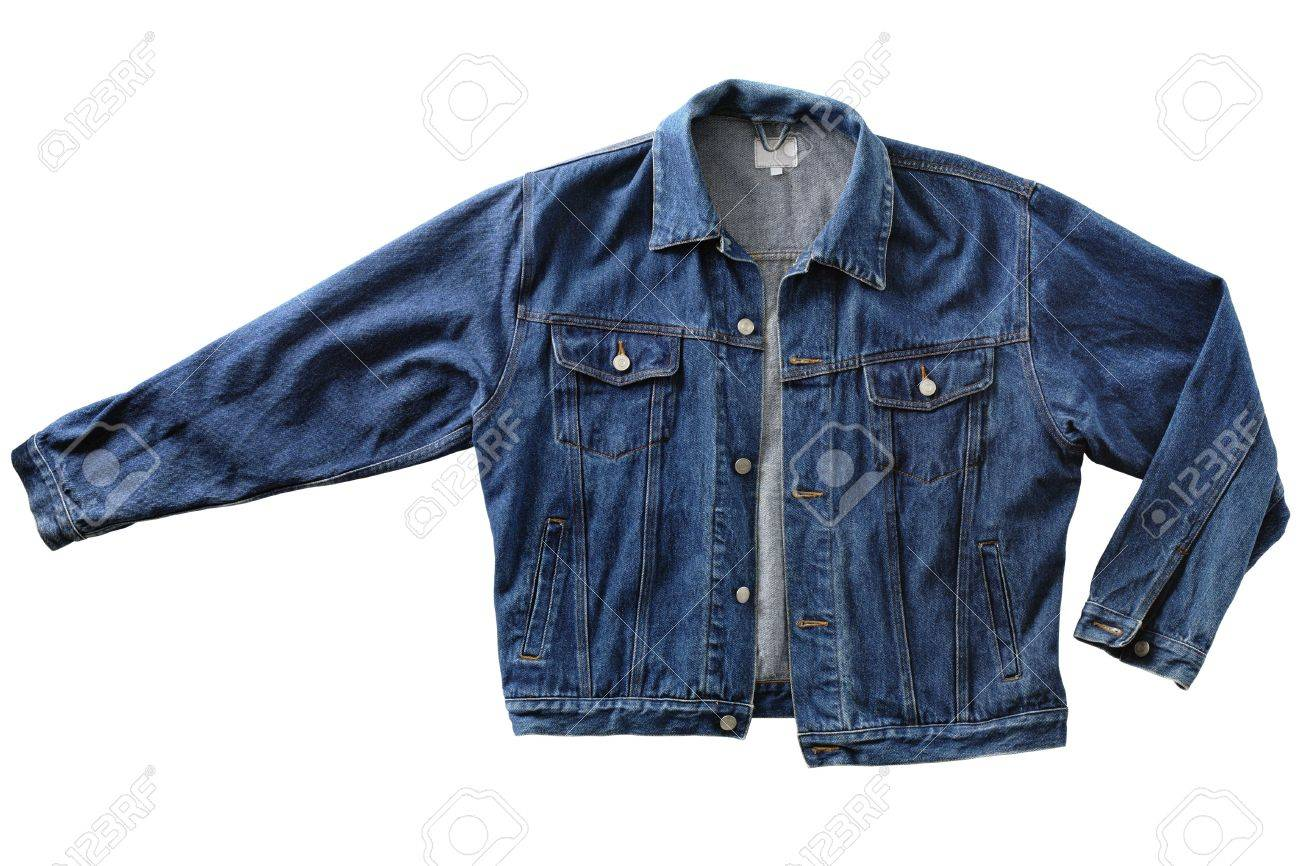 Old Men&39s Blue Denim Jacket Isolated On White Stock Photo
