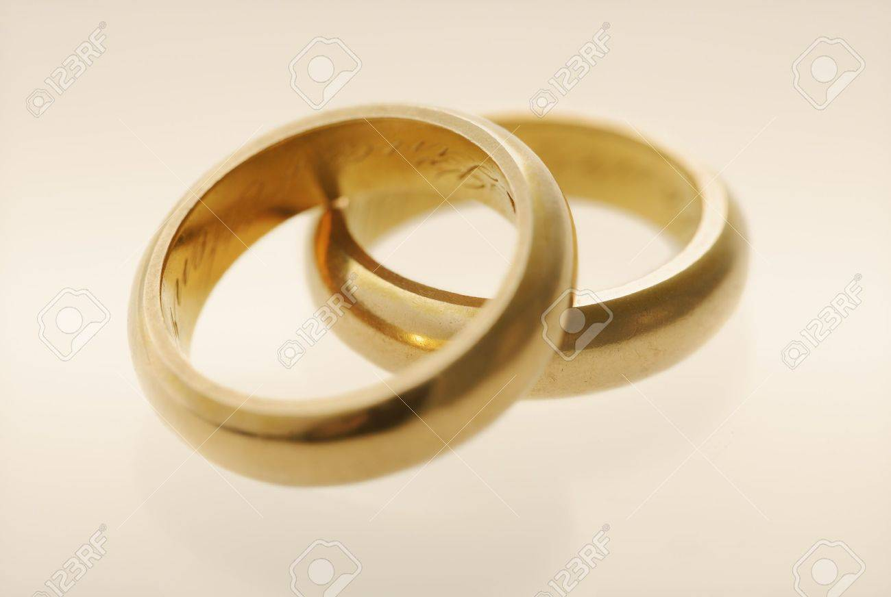 Old Golden Wedding Rings From Late 1800s Stock Photo Picture And